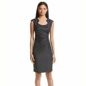 New! Calvin Klein Horseshoe Neckline Denim Dress